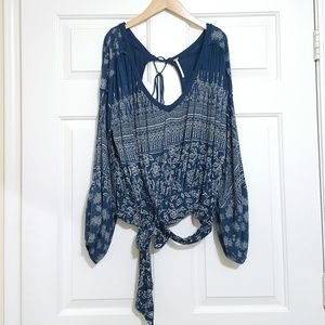 Pretty blue Free People boho blouse small